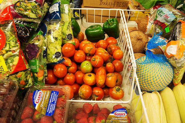 The Wesley House offers a mix of local produce and donated food from Pittsburg stores at its food pantry.<br /> Globe | Roger Nomer