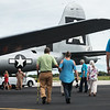 "Visitors take a tour of the B-29 Bomber ""Fifi"" at the Joplin Regional Airport on Monday.<br /> Globe 