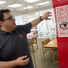 Jorge Leon, learning outreach librarian at Pittsburg State's Axe Library, talks about student-made posters for Banned Books Week during an interview on Thursday at the Library.<br /> Globe | Roger Nomer