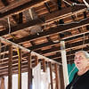 Judy Goff talks about how the Carthage Historic Preservation's annual lobster boil has provided funds for a new roof at the Sweet House on Thursday.<br /> Globe | Roger Nomer