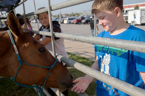 Raylin Eaton, an eighth grader at East Middle School, feeds Jack during Thursday's Ag Day at Joplin High School.<br /> Globe   Roger Nomer