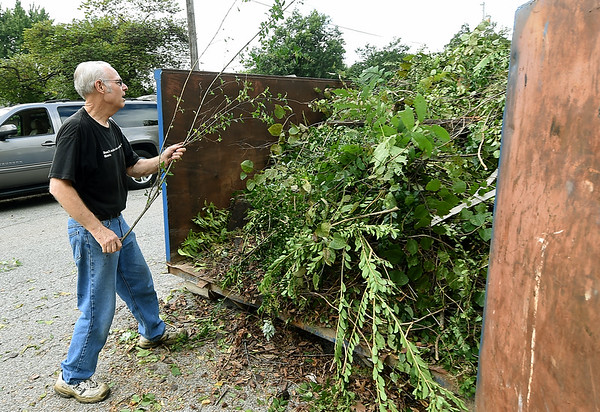 Tom Greek helps clear brush from a backyard on Ball Street in Webb City on Saturday. About 155 volunteers from God's Resort, Hearts & Hammers and Joplin Area Habitat for Humanity tackled 22 projects as part of a Brush With Kindness event.<br /> Globe | Laurie Sisk