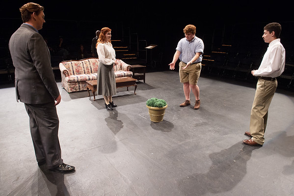 "(from left) Preston Hamilton, as Thomas, Chansey Rhoads, as Linda, Austin Prince, as Scott Stype, and Michael Rivera, as Robert, rehearse a scene from Missouri Southern's production of ""Hanging Man"" on Tuesday.<br /> Globe 