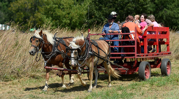Visitors at George Washington Carver National Monument enjoy a horse drawn wagon ride on Saturday during the park's annual Prairie Day on Saturday. Guests also enjoyed music, exhibits, story telling and more.<br /> Globe | Laurie Sisk