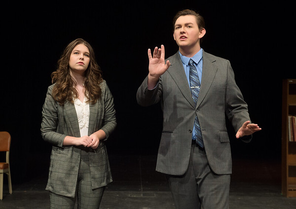 """Preston Hamilton, as Thomas, and Hope Bethel, as Allyson Sanders, rehearse a scene from Missouri Southern's production of """"Hanging Man"""" on Tuesday.<br /> Globe 