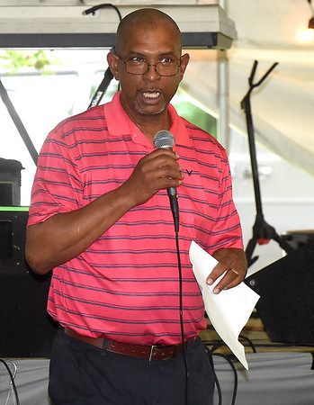 Joplin City Councilman Keenan Cortez details the rich history of the nearly century old Emancipation Park Days on Friday night at Ewert Park. The three-day event featured music, games, food and more.<br /> Globe | Laurie SIsk