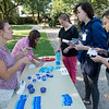 (from left) Jamie Ward, counselor at Crowder College, and Tiffany Slinkard, vice president of student affairs, talk with Amber Ferry, a Crowder sophomore from Perry, Anna Garrison, a freshman from Seneca, and Kassie Stapp, a freshman from Granby, about Wellness Week activities on Tuesday, Sept. 17, at Crowder College Neosho.<br /> Globe | Roger Nomer
