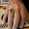 Former Green Bay Packer Nelson Toburen sports his NFL Championship ring on Thursday at his Pittsburg home.<br /> Globe | Laurie Sisk