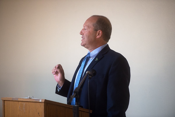 Jeffrey Zimmerman, dean of the Robert W. Plaster School of Business at Missouri Southern State University, gives campaign remarks during Wednesday's United Way kickoff at the Continental Banquet Center. <br /> Globe | Roger Nomer