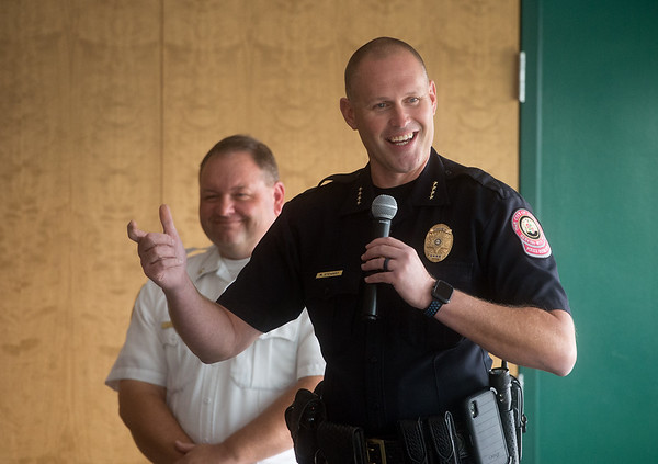 Joplin Police Chief Matt Stewart, right, and Fire Chief Jim Furgerson field questions about Prop B during a Rotary meeting on Thursday at Missouri Southern.<br /> Globe | Roger Nomer
