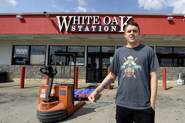 White Oak Station employee talks about the traffic problems near his store on Hwy 86 in Neosho on Wednesday. The Neosho City Council is considering options for either a traffic signal or round about near the busy intersection near I-49.<br /> Globe | Laurie Sisk