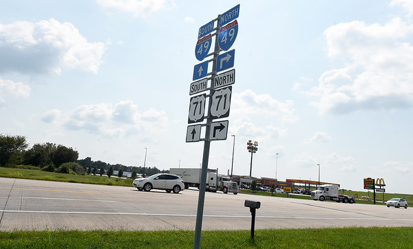 Traffic makes its way past a busy  traffic area on Hwy 86 on Wednesday in Neosho. The Neosho City Council is considering options for either a traffic signal or round about near the busy intersection near I-49.<br /> Globe | Laurie Sisk