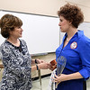 """Director Diana Allen visits with Lisa Gerstenkorn, who portrays  portrays Julia Child in the Heartland Opera one-woman show """"Bon Appetit.""""<br /> Globe 