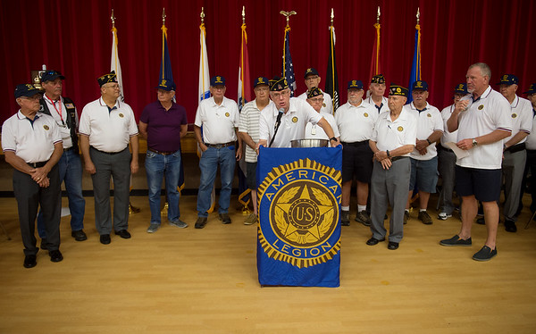 Warren Turner introduces the members of Joplin's American Legion Post 13 during Thursday's Veterans Expo at Joplin Memorial Hall. The local post's membership has recovered membership over the past few years to about 250 members.<br /> Globe | Roger Nomer