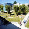 BEN GARVER — THE BERKSHIRE EAGLE<br /> Students walk through the new amphitheater at Berkshire Community College between classes. The Hawthorne and Melville buildings are now connected with a new student space.