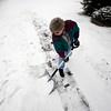 BEN GARVER — THE BERKSHIRE EAGLE          <br /> Denise Mais clears out a path in the snow in front of her house on Newell Street in Pittsfield. Tuesday's precipitation started with snow turned to rain as the day progressed. Tuesday, February 7, 2017.