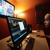 BEN GARVER — THE BERKSHIRE EAGLE<br /> Tariq Pinkston edits his cable access TV show XCell: for a Better Tomorrow at PCTV in Pittsfield.