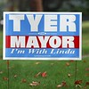 BEN GARVER — THE BERKSHIRE EAGLE<br /> Linda Tyer lawn sign on Williams Street, Tuesday, September 10, 2019. <br /> There are four mayoral candidates in Pittsfield: incumbent Linda Tyer, Councilor at Large Melissa Mazzeo, Rusty Anchor owner Scott Graves and retired police officer Karen Kalinowsky.