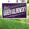 BEN GARVER — THE BERKSHIRE EAGLE<br /> Karen Kalinowsky lawn sign on outer East Street, Tuesday, September 10, 2019. <br /> There are four mayoral candidates in Pittsfield: incumbent Linda Tyer, Councilor at Large Melissa Mazzeo, Rusty Anchor owner Scott Graves and retired police officer Karen Kalinowsky.