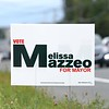 BEN GARVER — THE BERKSHIRE EAGLE<br /> Melissa Mazzeo lawn sign on East Street, Tuesday, September 10, 2019. <br /> There are four mayoral candidates in Pittsfield: incumbent Linda Tyer, Councilor at Large Melissa Mazzeo, Rusty Anchor owner Scott Graves and retired police officer Karen Kalinowsky.