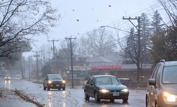 GILLIAN JONES —THE BERKSHIRE EAGLE<br /> Motorists navigate steady rain and leaves blowing off the trees as they drive along West Housatonic Street in Pittsfield on Monday, November 6, 2017.