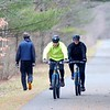 BEN GARVER — THE BERKSHIRE EAGLE<br /> Kevin and Michelle Loehr take a ride on the Ashuwillticook Rail Trail in Lanesborough, Monday, January 13, 2020. Warm weather and a lack of snow makes the trail unusually inviting.