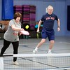 BEN GARVER — THE BERKSHIRE EAGLE<br /> Pam Dwyer and Hank Langendorf play Pickleball at the CRA in Dalton, Monday, January 13, 2020. The CRA offers Pickleball for adults every weekday from 9:30 to noon.