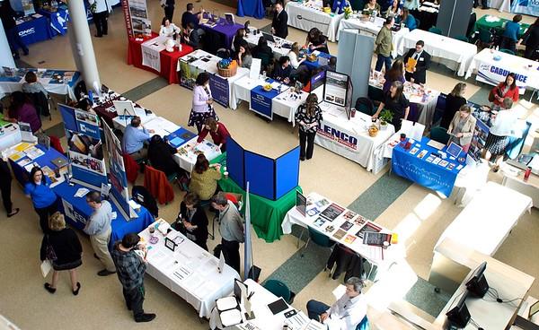 BEN GARVER — THE BERKSHIRE EAGLE<br /> Job seekers wander through the 1Berkshire career fair.<br /> 1Berkshire held its annual Career Fair at Taconic High School, Wednesday, April 17, 2019.