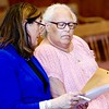 BEN GARVER — THE BERKSHIRE EAGLE<br /> Deborah A. Ball, former assistant treasurer/tax collector for the Town of Great Barrington, talks with her attorney, Judith Knight at her arraignment on charges of embezzlement in Berkshire Superior Court, Wednesday, August 14, 2019.