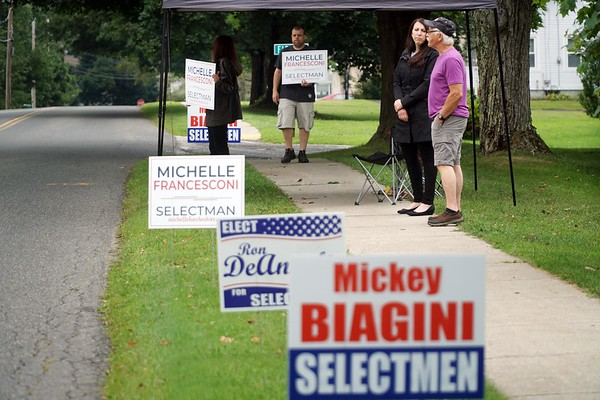 BEN GARVER — THE BERKSHIRE EAGLE<br /> Michelle Francesconi stands outside of the Community Center in Cheshire during voting for two new selectman seats, Tuesday, August 13, 2019.