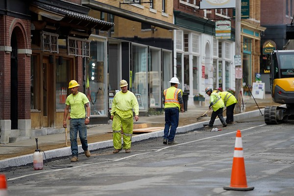 BEN GARVER — THE BERKSHIRE EAGLE<br /> Construction work on Railroad Street in Great Barrington will resurface the sidewalks and road and improve parking. Businesses are open during construction.