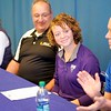 BEN GARVER — THE BERKSHIRE EAGLE<br /> Wahconah's Abby Wells beams at the signing of  her national letter of intent to play softball at the University of Bridgeport , Monday, November 18, 2019.