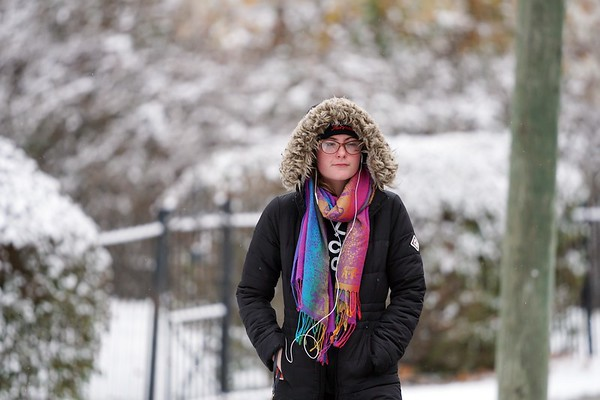 BEN GARVER — THE BERKSHIRE EAGLE<br /> Kady Derrick walks to work on Wahconah Street in Pittsfield bundled up for the colder weather, Tuesday November 12, 2019.