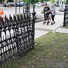 BEN GARVER — THE BERKSHIRE EAGLE<br /> The freshly renovated iron fence in Front of St. Joseph's Church in Pittsfield was hit by a Jeep that was being pursued by police, Tuesday, September 3, 2019.