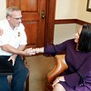 BEN GARVER — THE BERKSHIRE EAGLE<br /> Pittsfield Mayor Linda Tyer congratulates Deputy Chief Thomas Sammons during a press conference announcing Sammons as the Next Pittsfield Fire Chief. Wednesday, September 4, 2019.