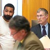 BEN GARVER — THE BERKSHIRE EAGLE<br /> Tyler Sumner, 25, of Adams was arraigned in Central Berkshire District Court on a single count of murder on Monday, September 30, 2019. Sumner was arrested in Adams on Saturday by Pittsfield Police, with assistance from Adams Police and North Adams Police. The charge is in connection with the Aug. 25 shooting on Columbus Avenue in Pittsfield, which killed 32-year-old Stephanie Olivieri. Nathaniel Green is defending Sumner (right of frame).