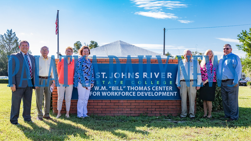 The superintendents attending the naming ceremony for the William M. Thomas Workforce Center on Husson Avenue Tuesday morning got together for a group photo. From left are current superintendent Rick Surrency, Carey Ferrell, Jr. (1966-1972),Geri Melosh (1992-1996), Daughter Jane Crawford, C. L. Overturf, Jr. (1980-1992), Phyllis Criswell (2012-2016), David Buckles (1996-2008). Fran Ruchalski/Palatka Daily News