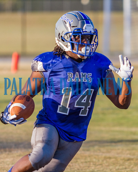 Rams Christian Marshall (14) runs with the ball in the second quarter of the Spring Game. Fran Ruchalski/Palatka Daily News