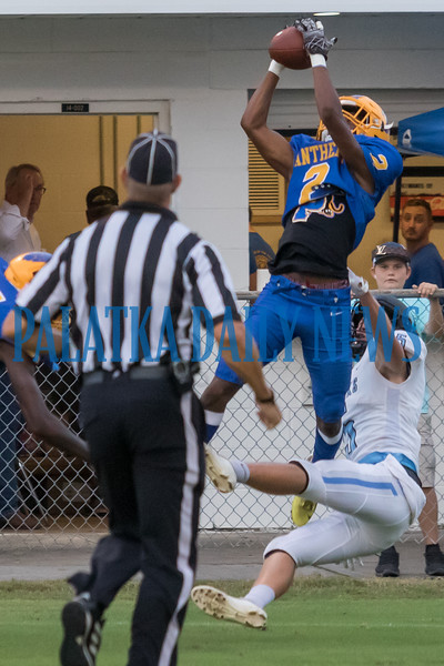 Panthers cornerback William King (2) pulls in an interception in the first half of their game with Ponte Vedra. Fran Ruchalski/Palatka Daily News
