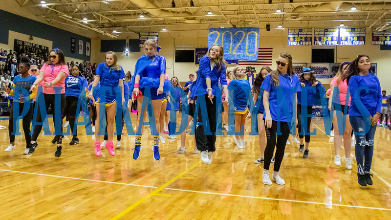 The junior class do their dance routine at the PHS Homecoming Pep Rally Friday afternoon. Fran Ruchalski/Palatka Daily News
