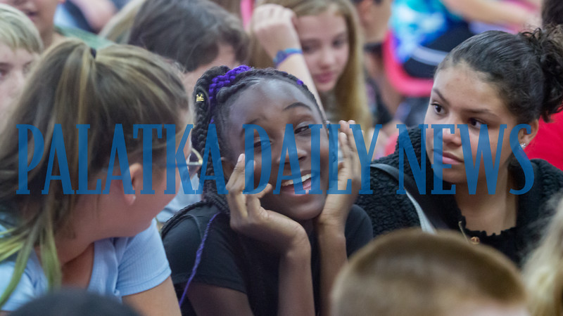 Being with old friends on the first day of school whom you may not have seen during the summer  is one of the best parts of going back to school. Fran Ruchalski/Palatka Daily News