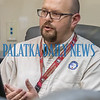 Putnam Emergency Management Director Ryan Simpson talks to local officials in the situation room at the Emergency Operations Center during Thursday's briefing on Hurricane Dorian. Fran Ruchalski/Palatka Daily News