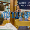 Author Sharon Buck explains her writing process during a mystery-writing talk at the Melrose Library on Thursday afternoon. Fran Ruchalski/Palatka Daily News