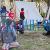 Union soldier Chuck Munson tells students about the daily lives of soldiers who camped outside the  Bronson-Mulholland House during Occupation Palatka in 1864. Fran Ruchalski/Palatka Daily News