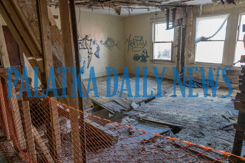 What were two rooms on the second floor of the Hotel James sustained so much damage from continued leaks in the roof, the separating wall is gone and the floor has fallen through. Fran Ruchalski/Palatka Daily News