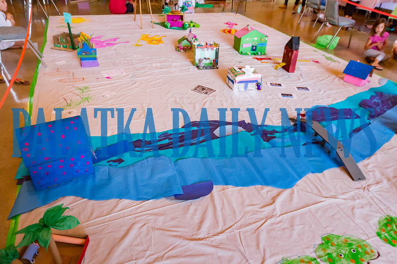The large map of Palatka that will be filled with buildings created by the campers when the box city is unveiled on Friday. Fran Ruchalski/Palatka Daily News