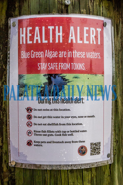 Health alert posters about the dangers of the blue green algae in the St. Johns River have been posted in several places along the docks in Riverfront Park. Fran Ruchalski/Palatka Daily News