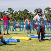 Crescent City Raiders defensemen run drills during Tuesday afternoon's practice. Fran Ruchalski/Palatka Daily News