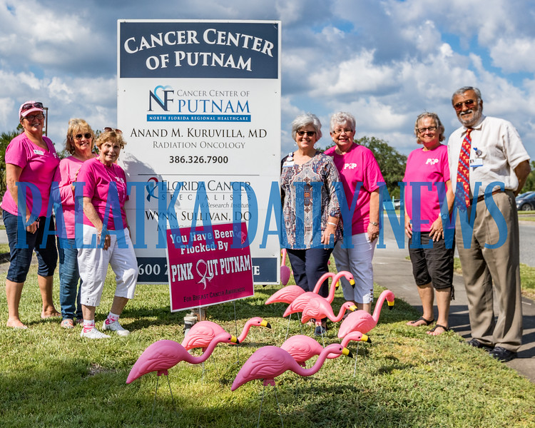 Members of Pink Out Putnam, in pink from left, Mindy Estep, Jimmie Clark, Kay Register, Deb Johnson, and Carol Horner pose with Gail Smith and Dr. Ananad Kuruvilla outside his office with some of the flock of pink flamingoes where they will stand for October which is breast cancer awareness month. Fran Ruchalski/Palatka Daily News