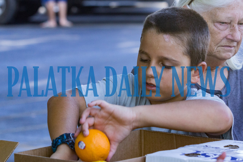 Ten-year-old volunteer Joel Hutchinson from the First Presbyterian Church puts several handfuls of oranges into each person's food package at the Community Food Bank on Thursday morning in the First Baptist Church parking lot. Fran Ruchalski/Palatka Daily News